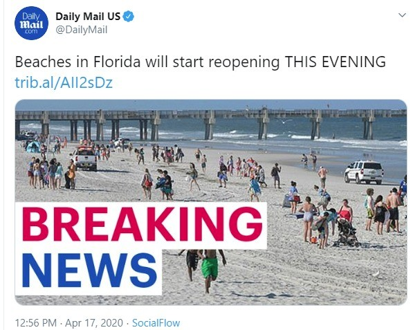 Florida beaches to reopen today. .. no stop don't do it...