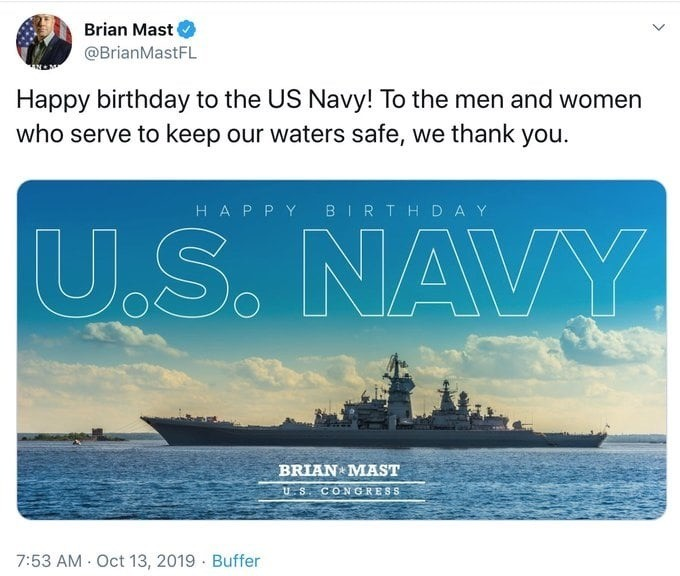Florida Congress man uses Russian Ship to thank the US navy. .. Should of had the uss constitution on there.