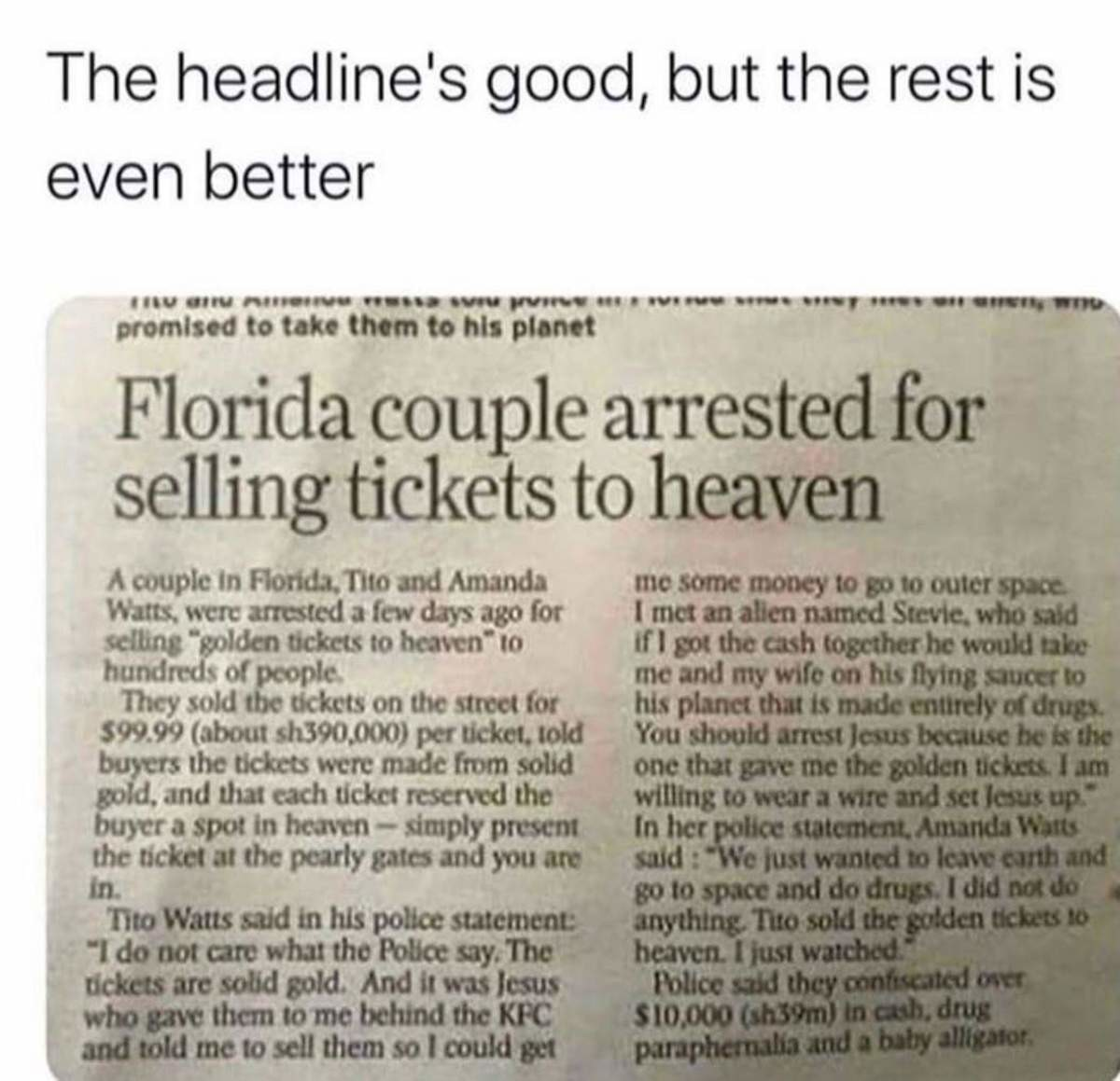 Florida. .. but when the priest does it it's okay and he doesn't pay taxes