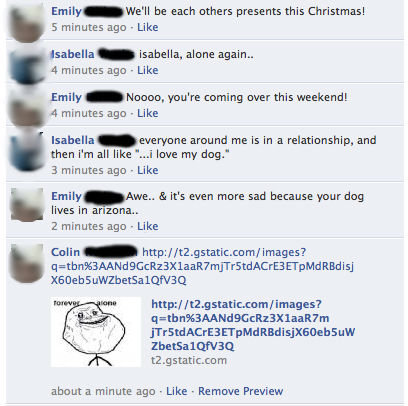 Forever christmas. saw the perfect opportunity to troll my gf's friend, I couldn't resist.