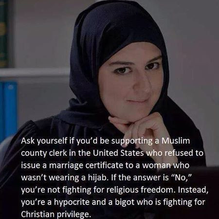 Found on Facebook. We can force Christians to marry someone who, according to their texts, is sinful, but we can't force Muslims to let women make their own cho