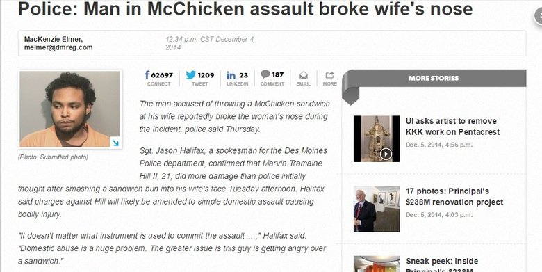 """Fowl Play. Better than breaking her nose with his , right?. Police: Man in Mcchicken assault broke wife' s nose Elmer, 12: 34 am. CST December at Edict ED!"""" ENT"""
