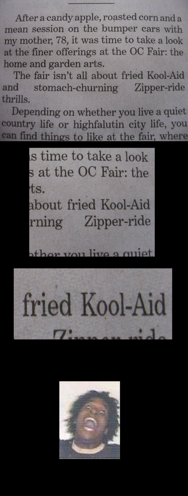 Fried Kool Aid anyone?. Found this while reading an article about my county fair. nullity life or highfalutin city life, you After a candy apple, roasted corn a