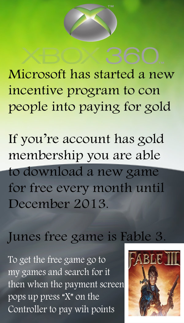 """Get Fable 3 free on Xbox. Instructions for Free . 1. Sign in 2. Go to my games 3. """"search games"""" 4. type in """"Fable 3"""" 5. Click Purchase (Fre"""