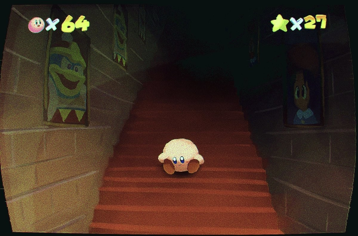 Glitch. .. no glitch, Kirb is just chilling on the staircase waiting for kingofdddreamland to come down with him for ice cream