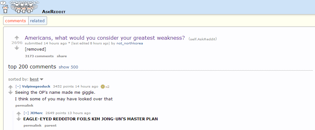 Good effort, Admin. It was worth a shot. Stupid redditors are too attentive.. comments related Americans, what would you consider your greatest weakness? (seff.