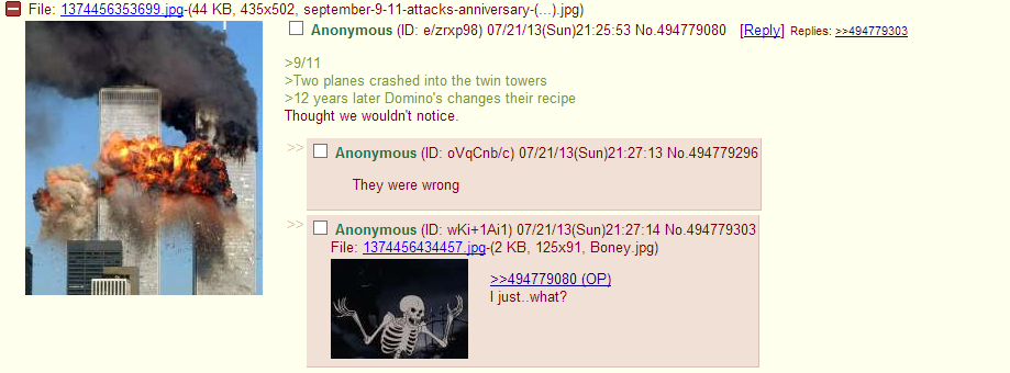 Gotcha. source: . MI File: 137445635369% (44 KB, 435x502, ) planes crashed into the twin towers years later Domino' s changes their recipe Thought we wouldn' t