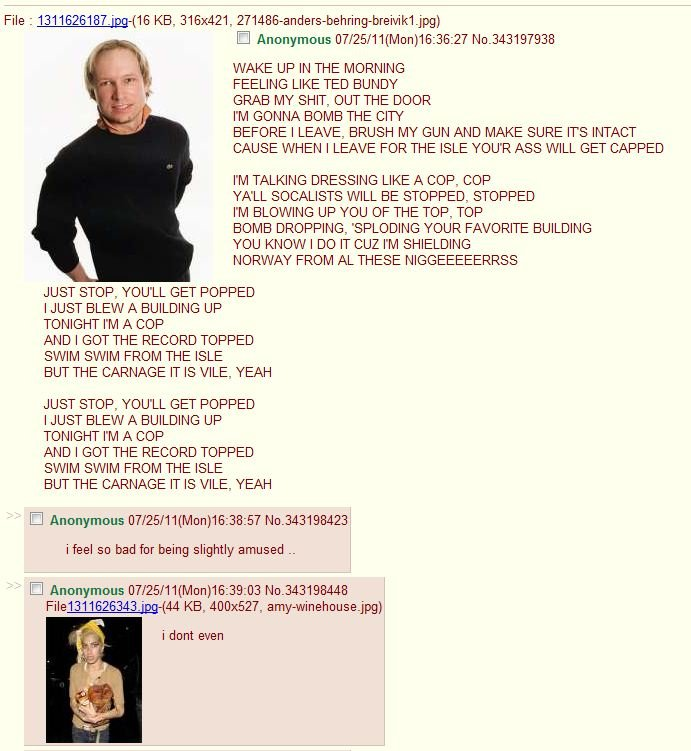 Gotta love 4chan. I feel the same as the first comment. File 2 13116_ KB., 316x421, ) WAKE UP IN THE MORNING FEELING LIKE TED BUNDY GRAB MY SHIT, OUT THE DOOR I
