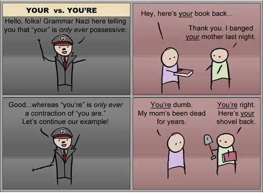 Grammar 101. Cake.. Damn that's funny