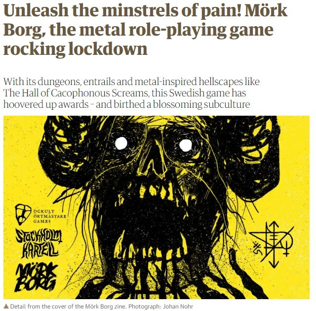 Guardian covers Mörk Borg. The Guardian showcased Mörk Borg, a Swedish OSR B/X D&D retroclone. It is currently the hot in the OSR scene Its pretty cool if y