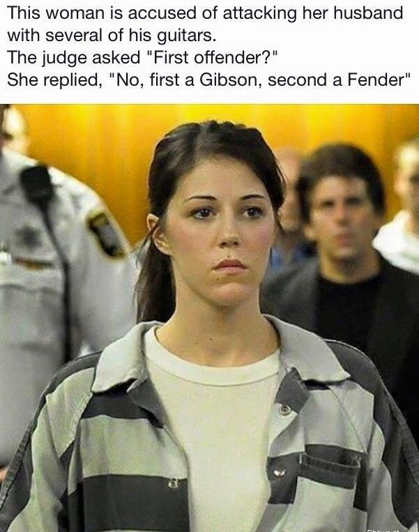 """Guitar Humor. . This ' is accused attacking her husband with several by, his guitars. The judge asked """"First offender?"""" She """"Ne, first .r' Gibson, ' itll. a Fen"""