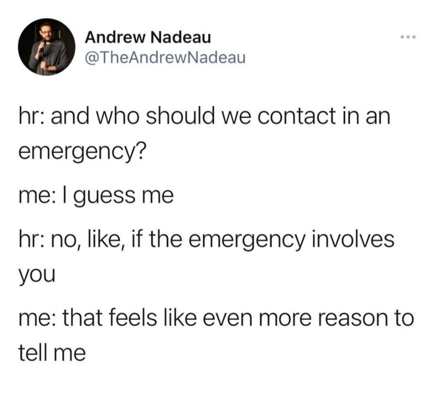 "handy aerosol nail-biting Woodcock. .. ""Oh, probably 911 then"""