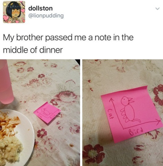 He has a point. . My brother passed me '' new in the middle of dinner. Your brother is a genius.
