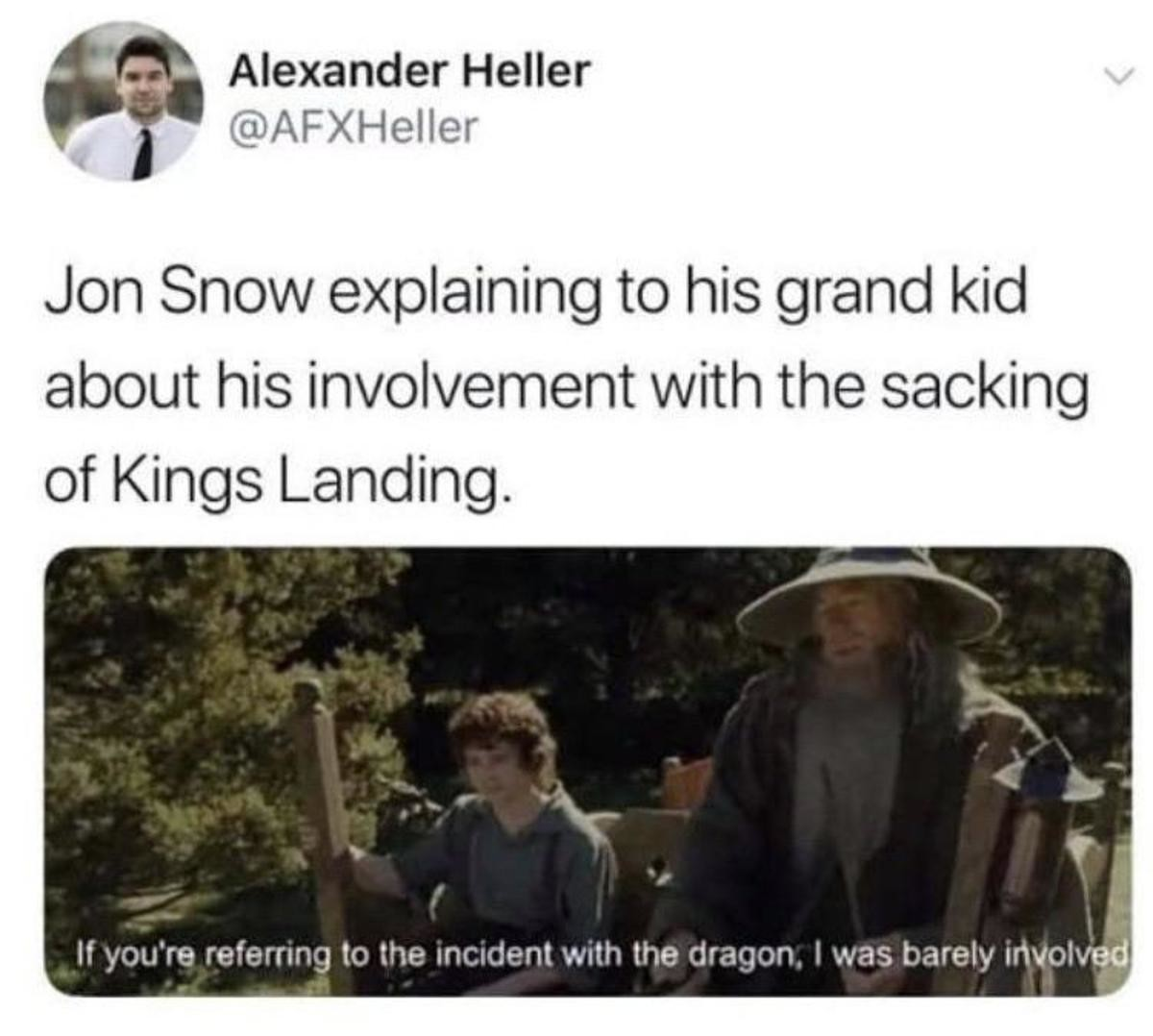 He knows nothing. .. I mean, he shouldnt be having any grandchildren, but I also hate that ending.