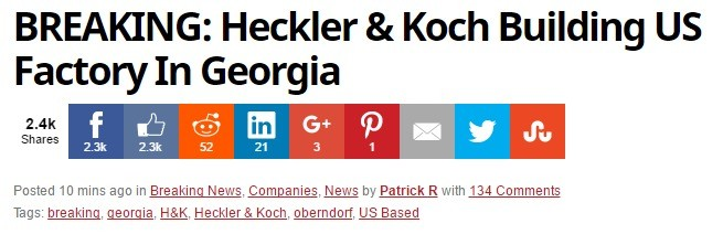 """Heckler & Koch Building US Factory In Georgia (The State). """"Heckler & Koch is building a US factory in Georgia, a welcome surprise for US gun buyers. T"""