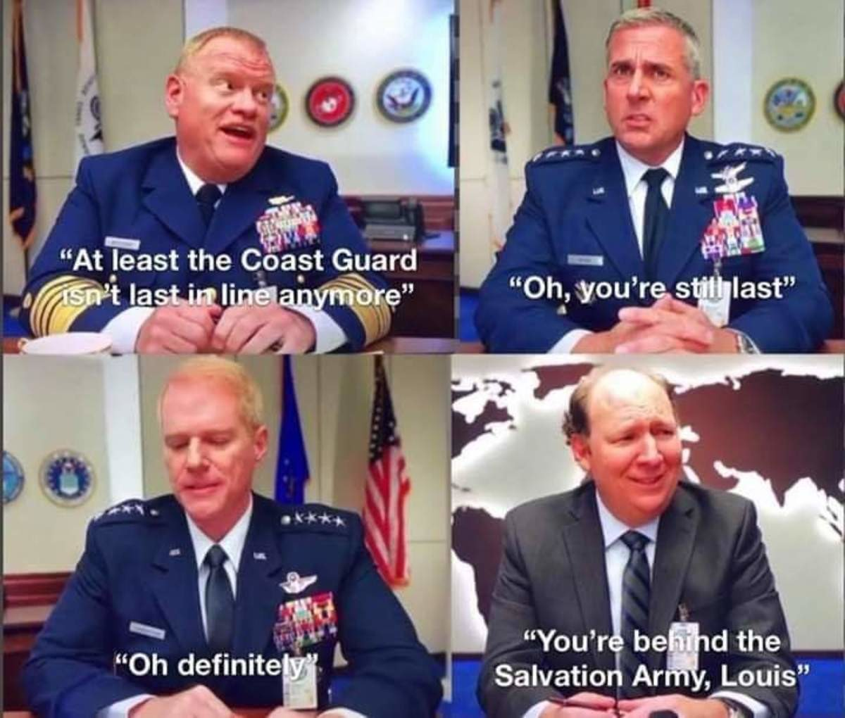 Heh, Stupid Coat Guard. .. Space Force is, only just barely functional as a comedy. Like, I see enormous talents, but the first two episodes just had a script and I'm not watching more wi