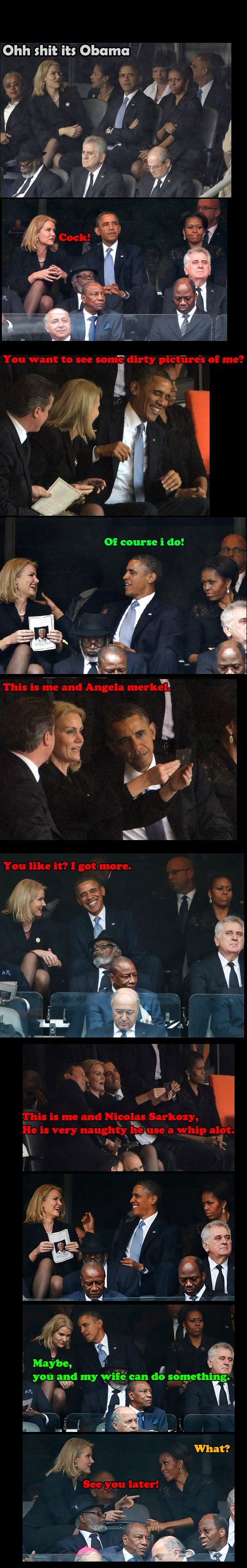 Helle & Obama, What really happened!. Just made it, Sorry about spelling... guess she was asking for some Obama Care