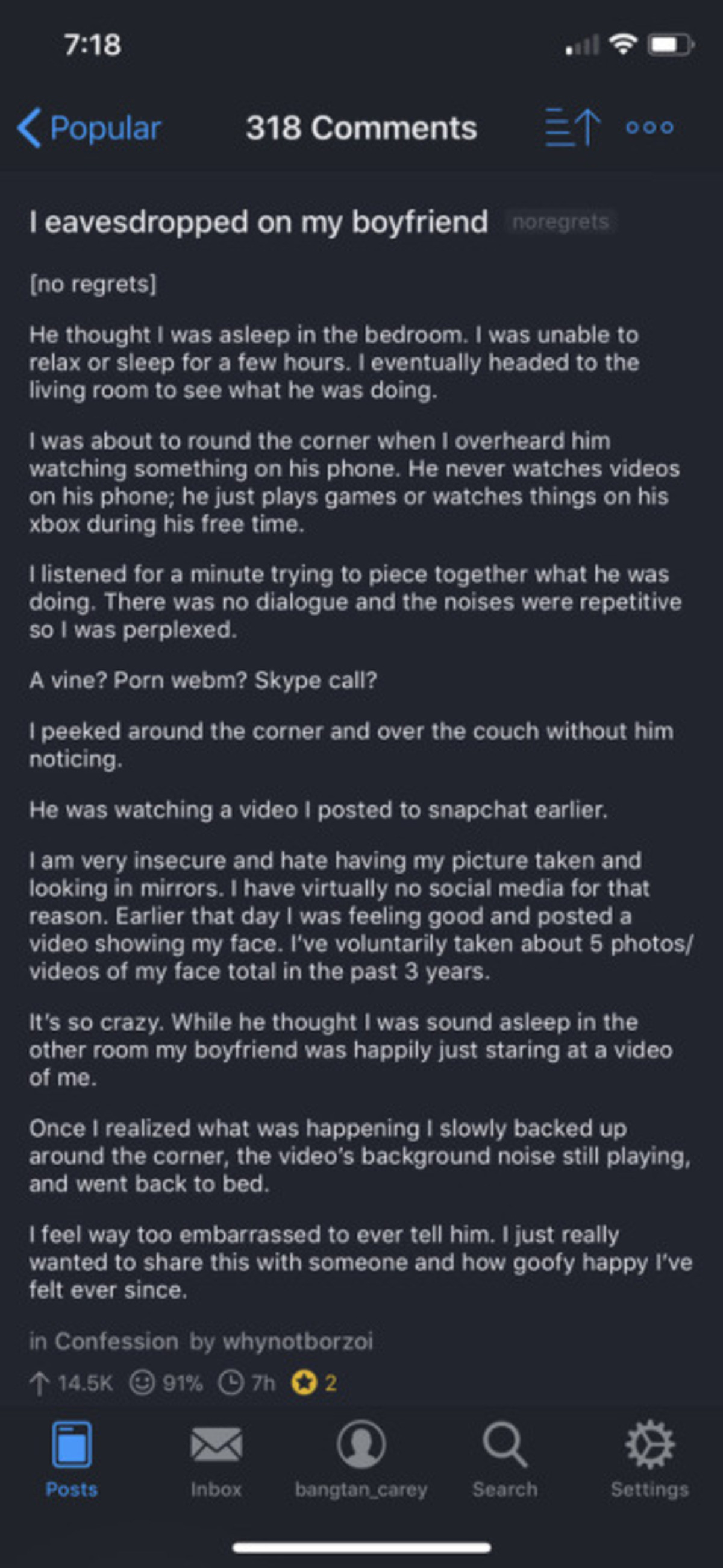 His diamond.. join list: HappyThoughts (1573 subs)Mention History. Popular 318 Comments 2 7 I eavesdropped on my boyfriend no regrets] He thought I was asleep i