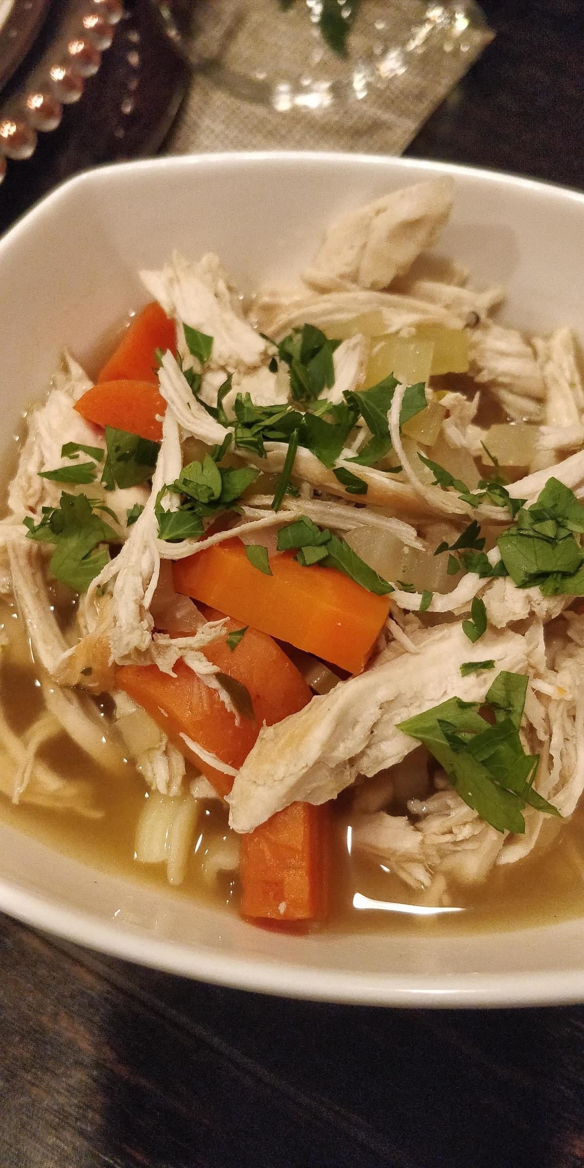 Homemade Chicken noodle soup. join list: QuixoticMeals (123 subs)Mention History.. Seems good but those are some really large pieces imo. And I feel like the chicken should be submerged otherwise that'll be dryComment edited at .
