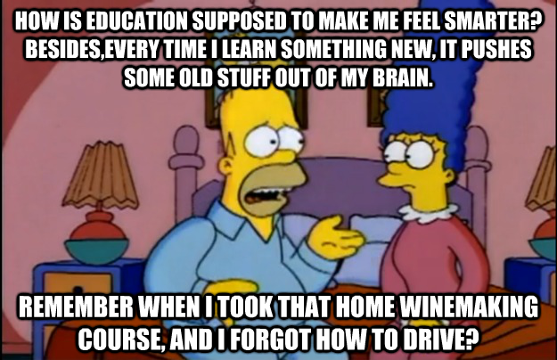 Homer knows education. . MIN IS SCII' I' TO MERE ME FEB, ? BESIEGES. TIME I HEW. IT PRISSIES SIMILIE lull STUFF MIT III MY BRAIN. WHEN i TONI THAT MIME 1, Mil I