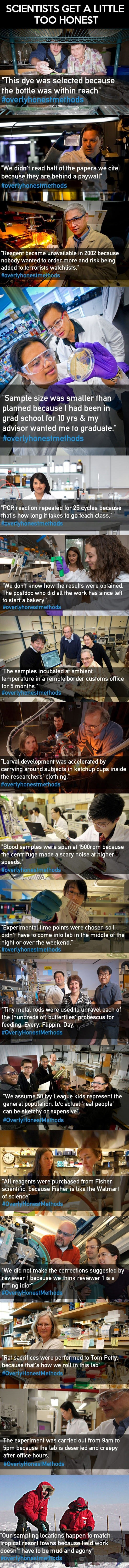 """honest. . SCIENTISTS GET A LITTLE TOO HONEST This dye was selected because the bottle was within reach"""" We didn' t read half of the papers we cite because they"""