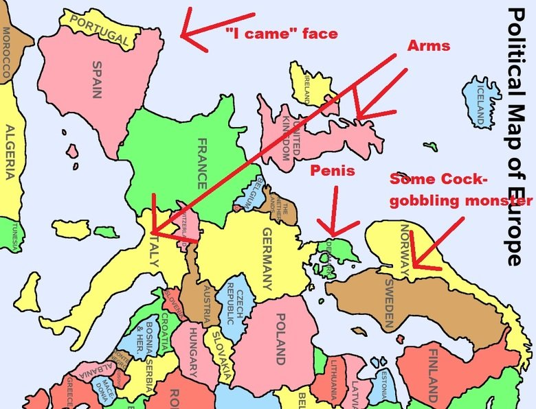 """How I look at Europe on a map. Sorry if this is offensive to some of you, but I hope you laughed a little bit.. Emu Eww. o_ um I came"""" face Penis. wut."""