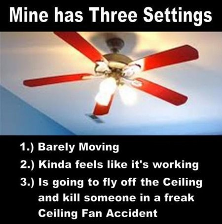 How my fan works. Macs suck. Mine has Three Settings IO Barely Moving 20 Kinda feels like it' s working 30 is going to fly off the Ceiling and kill someone in a