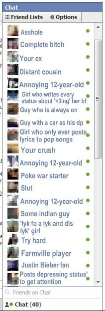 How My Friend's Facebook Look. Not mine. Complete hitch E trout as I Distant shinnying . Girl who writes every g I status about 'ccing' her bf Guy who Is always