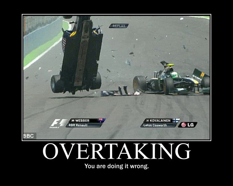 How to do things the wrong way. Webber goes for the overtake on Kovaleinen and things don't go so well. Webber actually ended up landing upside down and flippin