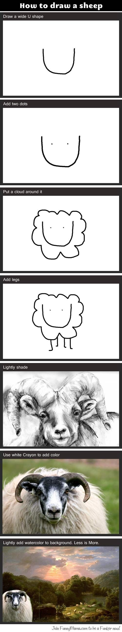 how to draw. Remember: Less is More. How to draw Ft.,) sheep w A' wide I shape.- PM E 'siltrim .. it Lightly slende Join in he a Fatter mu!. relevant.