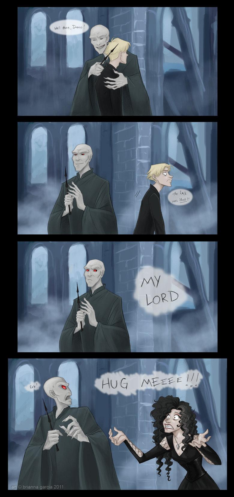 Hugs?. credit goes to bri-chan on deviantart.. Voldemorts reaction.