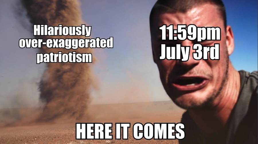 I can hear the fireworks already.. 2 mins in Roflbot.. It is hilarious, but its never over-exaggerated. America yea
