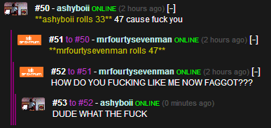 """I CAN'T EVEN. link to comment ---> I DON'T EVEN. asher. iomi rolls 3. 3."""" 47 cause fuck you 51 - mrfourtysevenman 3' -._ ' -E [H mrfourtysevenman rolls 47"""" 5"""