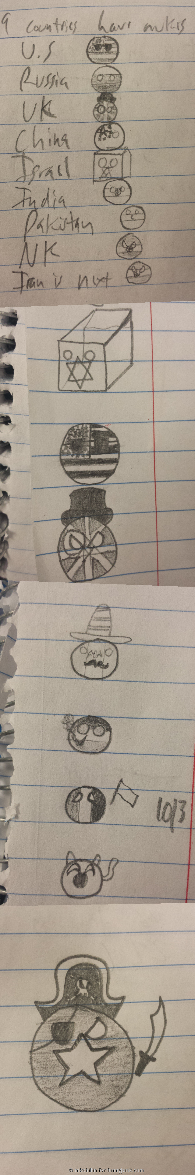 I make of doodles for yuo!. I've made this in my international relations class as they tie in to the subject matter and because I love polandball.