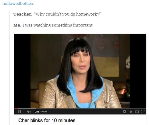 I was busy. . Cher blinks fur IR', minutes. beats a ten minute cher music video.