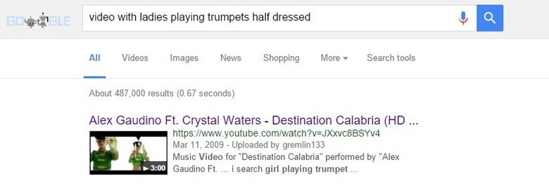 I was trying to find this song. I used only things I could remember from the song's video.. tit video with ladies playing trumpets half dressed Q, E All Videos