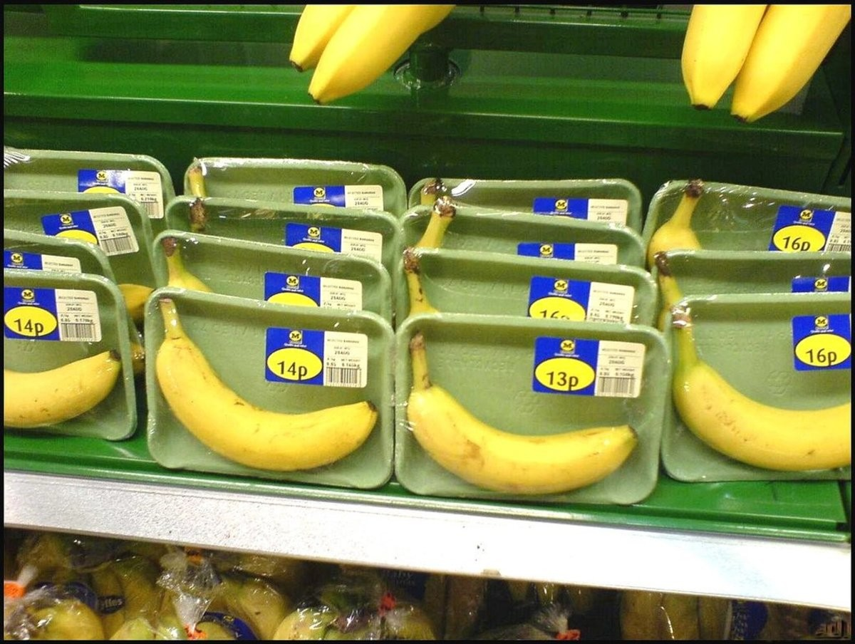 "IF YOU WANTED JUST A SINGLE BANANA. .. >Come naturally with its own protective and hermetically-sealed packaging ""Well, better package these in plastic and styrofoam...."""