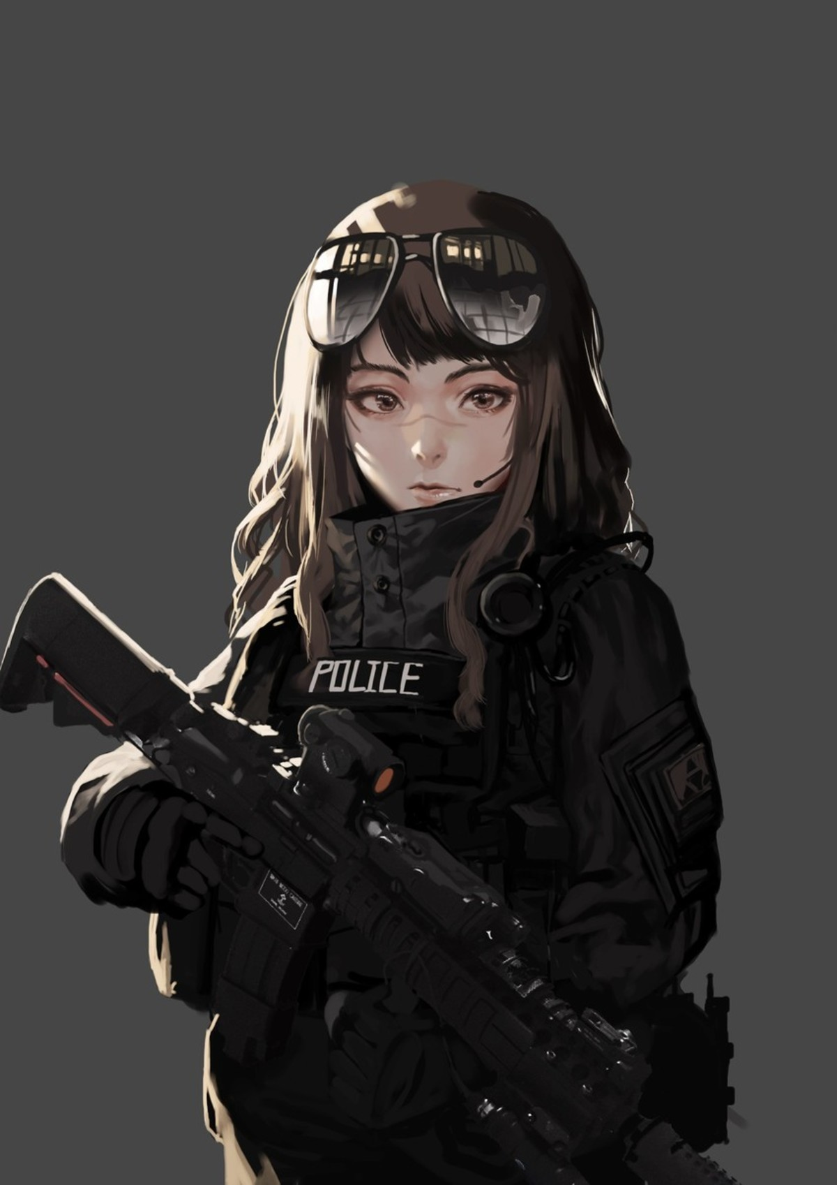 ihobus. I ain't an anime person, but anime girls with guns? Compelling argument... Artist is ihobus..
