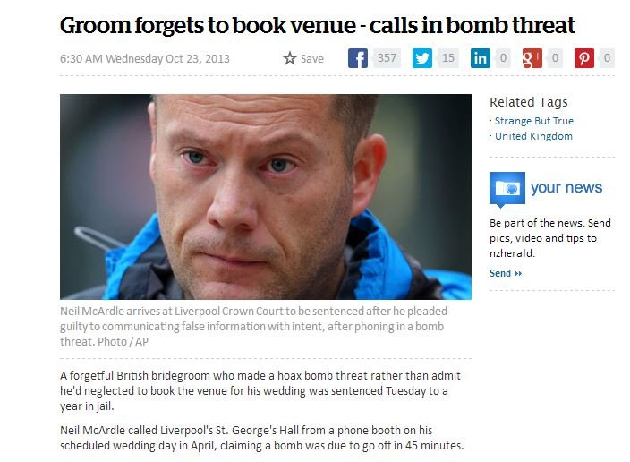 In hindsight.... Both a legend and a moron. Groom forgets to book venue - calls in bomb threat 6: ) Alal' Wednesday( ) 13 itsabe El 357 E 15 m o billa o o Relat