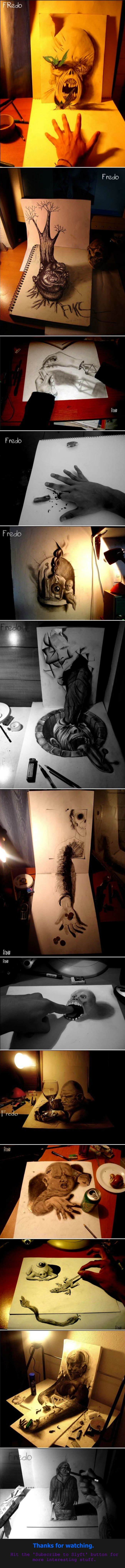 Incredible and Creepy 3D Drawings. Drawings by the artist Fredo. Subscribe for more cool stuff .. Where's the funny?