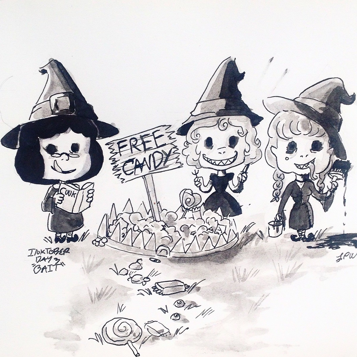 Inktober Day 3: BAIT. Day 3: BAIT I really wanted to draw candy for this one and cute witches... Well they started out a lot cuter. :3 I drew this yesterday, bu