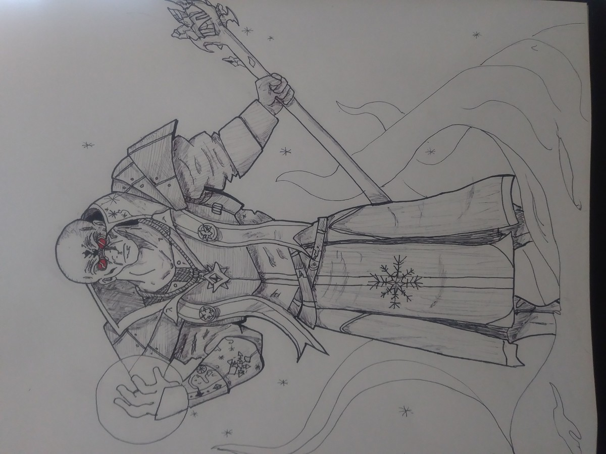 Inktober Day 4 Freeze. Day 4 is freeze. Thought I would do a fantasy rendition of Mr Freeze as an ice Wizard. Aaand no matter what I try it wont flip the right