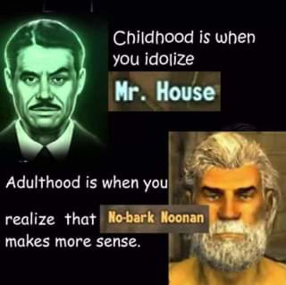"""insane square Monkey. .. Childhood is thinking the NCR or House are """"right"""". Adulthood is realizing that in their own ways, all three factions were """"correct"""", but no"""