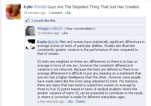 Intelligence. Pwned my sister.. Kylie Guy: Are The Stupidest Thing That God Has Created. 39 minutes ago ' Comment ' Like 3 people like this, conversation II: 10