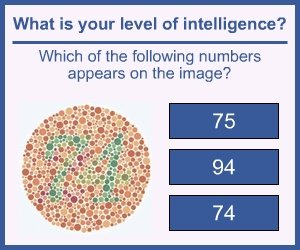 Intelligence Fail. Description<br /> Its a fail because this is to test for colour blindness, not intelligence.. I see 74 and can see 94, but I cant see 75 at all