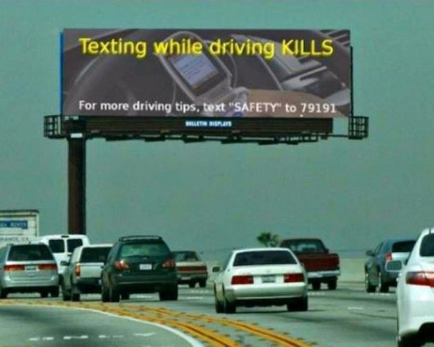 Irony. but seriously, if you text while drive, please swerve into the nearest river and stay there Source: r/funny.