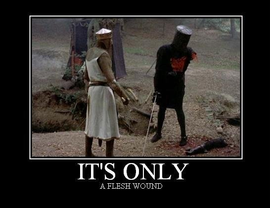"""Its Only. a flesh wound. A FLESH W(. """"I've 'ad worse-"""" YOU LIE!"""""""