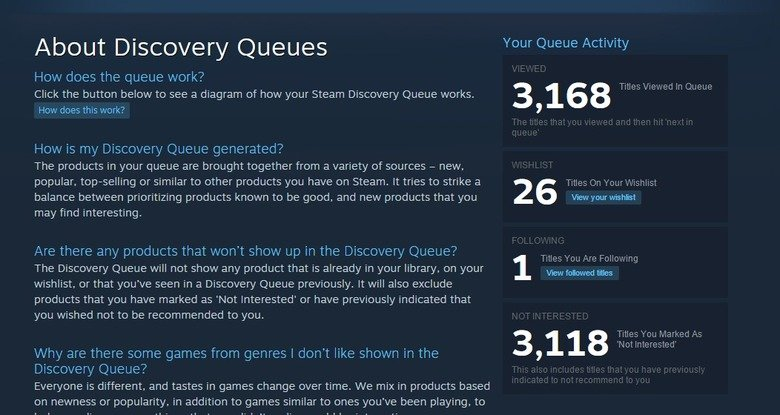 """I've Seen Some .. What are your """"High Scores""""?. About Discovery Queues 1/ otn' Click the button below to see a diagram of how your Steam Discovery Que"""