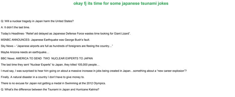 japan jokes. did it on paint i know i suck and no i don't have a soul. okay fl' its was for tsunami joker abella ME Ha in Japan Unlined States? A: ll didn' t la