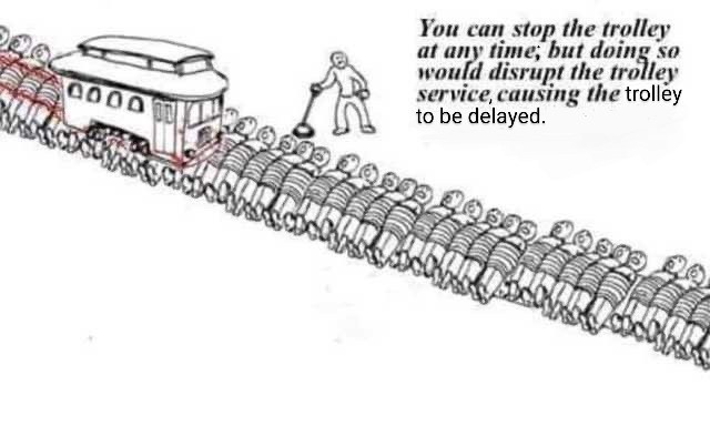 Japanese Trolley Problem. .. >stop trolley >everyone who didn't get run over survives. >you untie them >they all commit seppuku because they failed to die on time